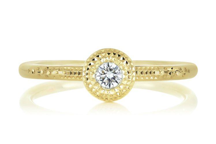De Beers Talisman 18K黃金單鑽戒指,飾有一顆約0.08克拉圓...