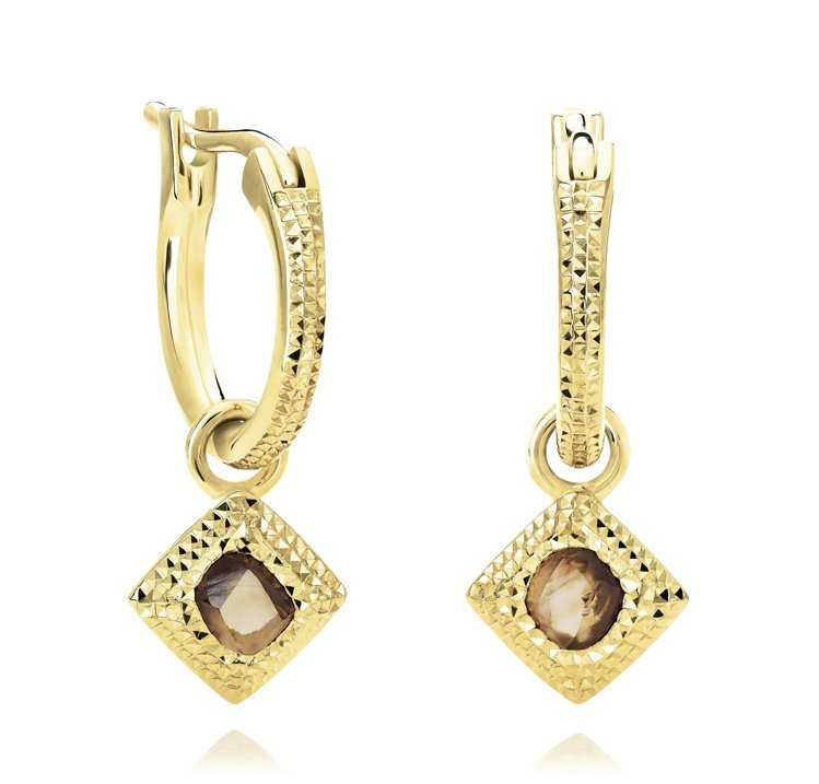 De Beers Talisman 18K黃金鑽石原石耳環,飾有一顆約0.15克...