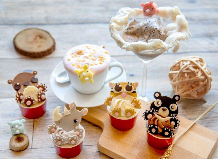 六福推限定可愛犀牛飲品、杯子蛋糕,支持922世界犀牛日。圖/六福旅遊集團提供