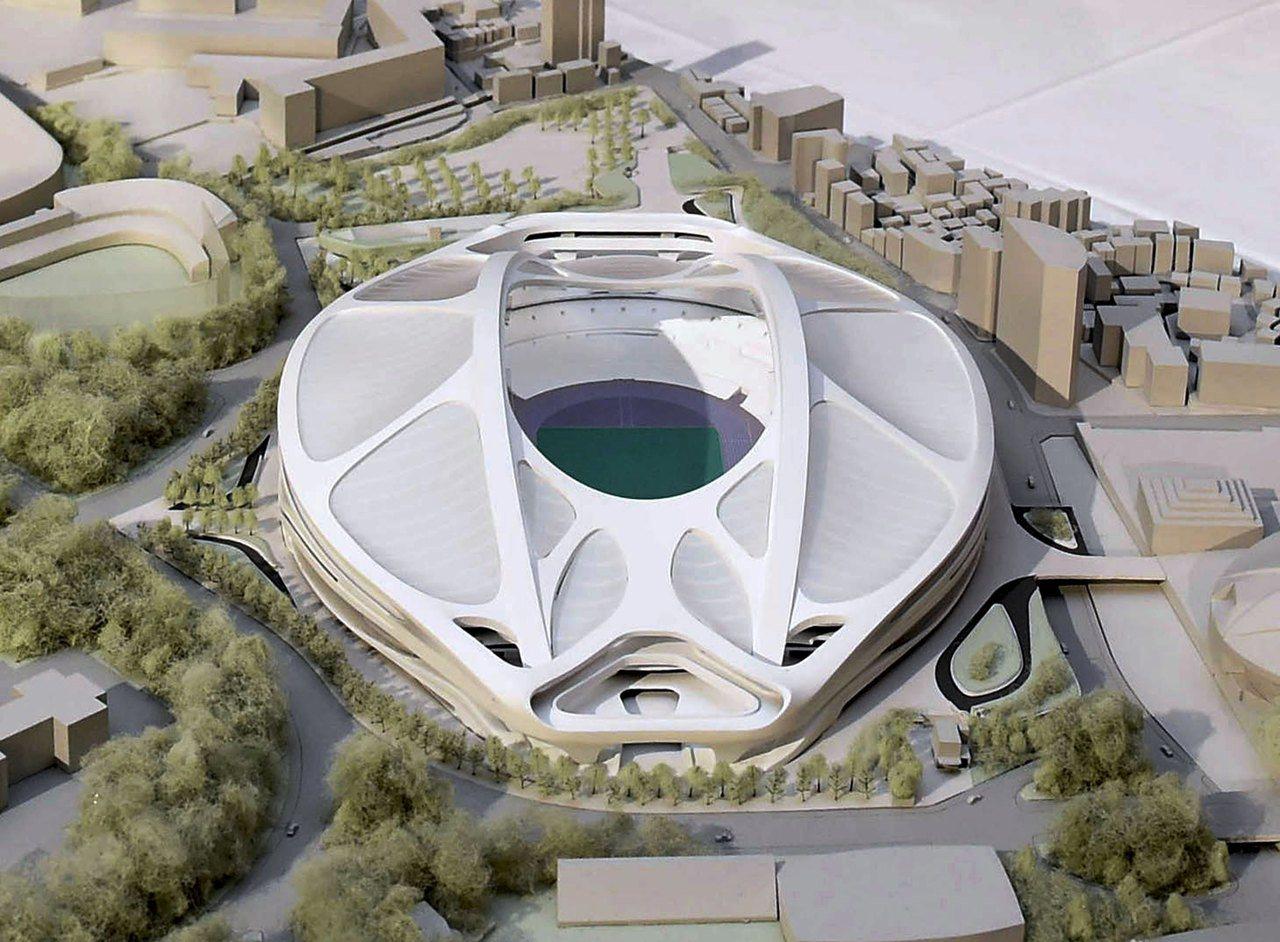 札哈‧哈蒂設計的東京奧運主場館「新國立競技場」模型。(路透)