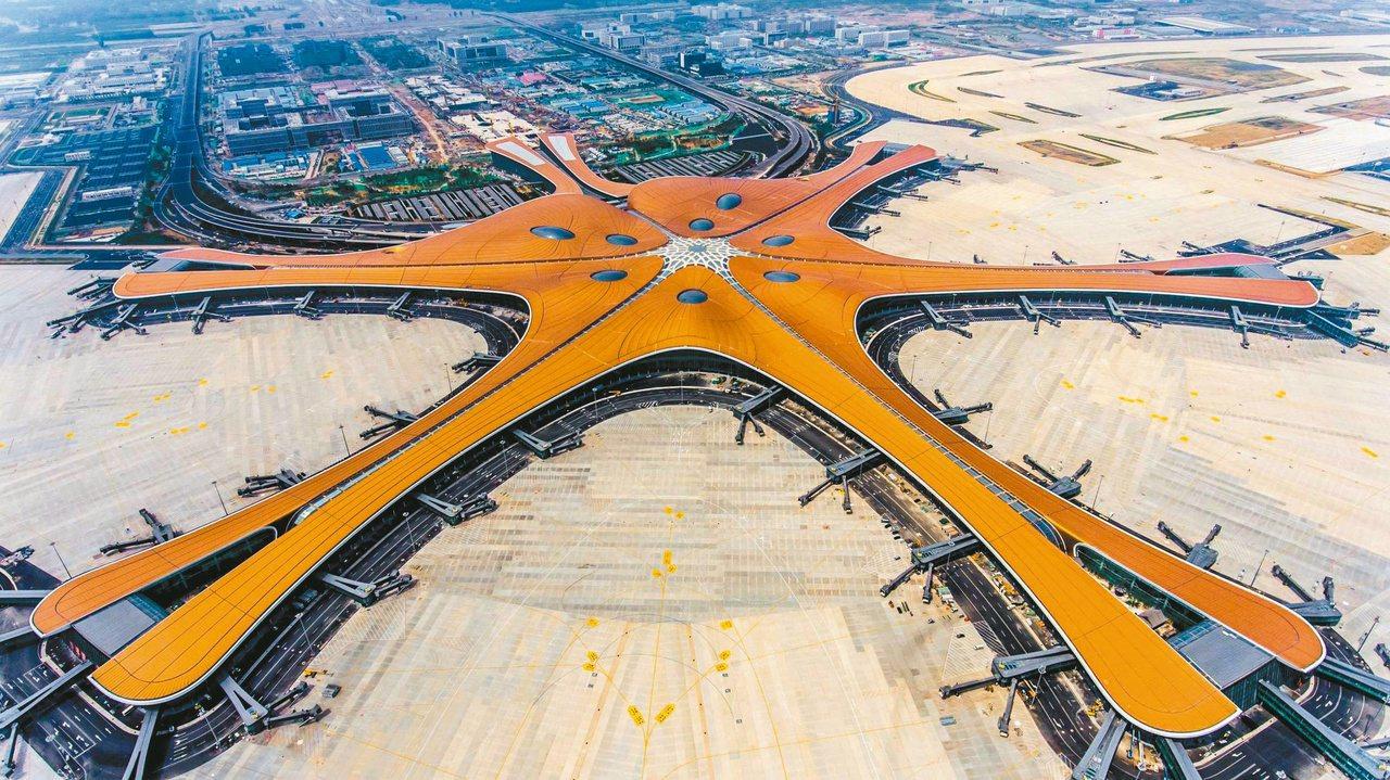 中國大陸北京大興國際機場航站區工程於六月三十日竣工驗收。 圖╱法新社