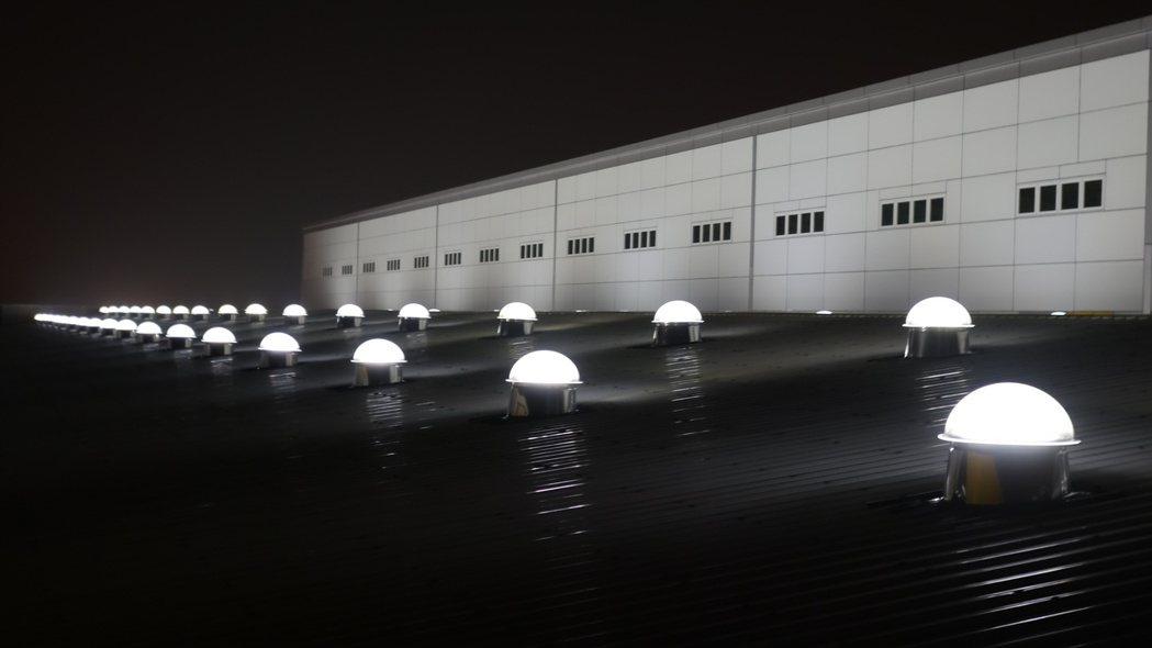 陽昇綠能光導照明系統的夜晚實績。業者/提供