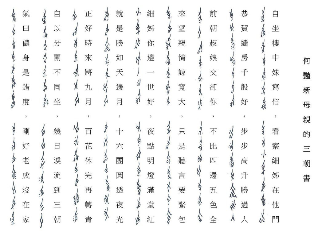 女書與漢字的對照。 圖/劉斐玟提供