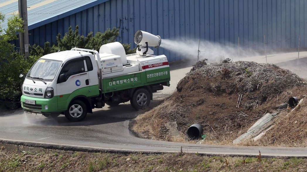 今年5月,北韓傳報首例非洲豬流感後,南韓當局加強防疫工作。 (美聯社)