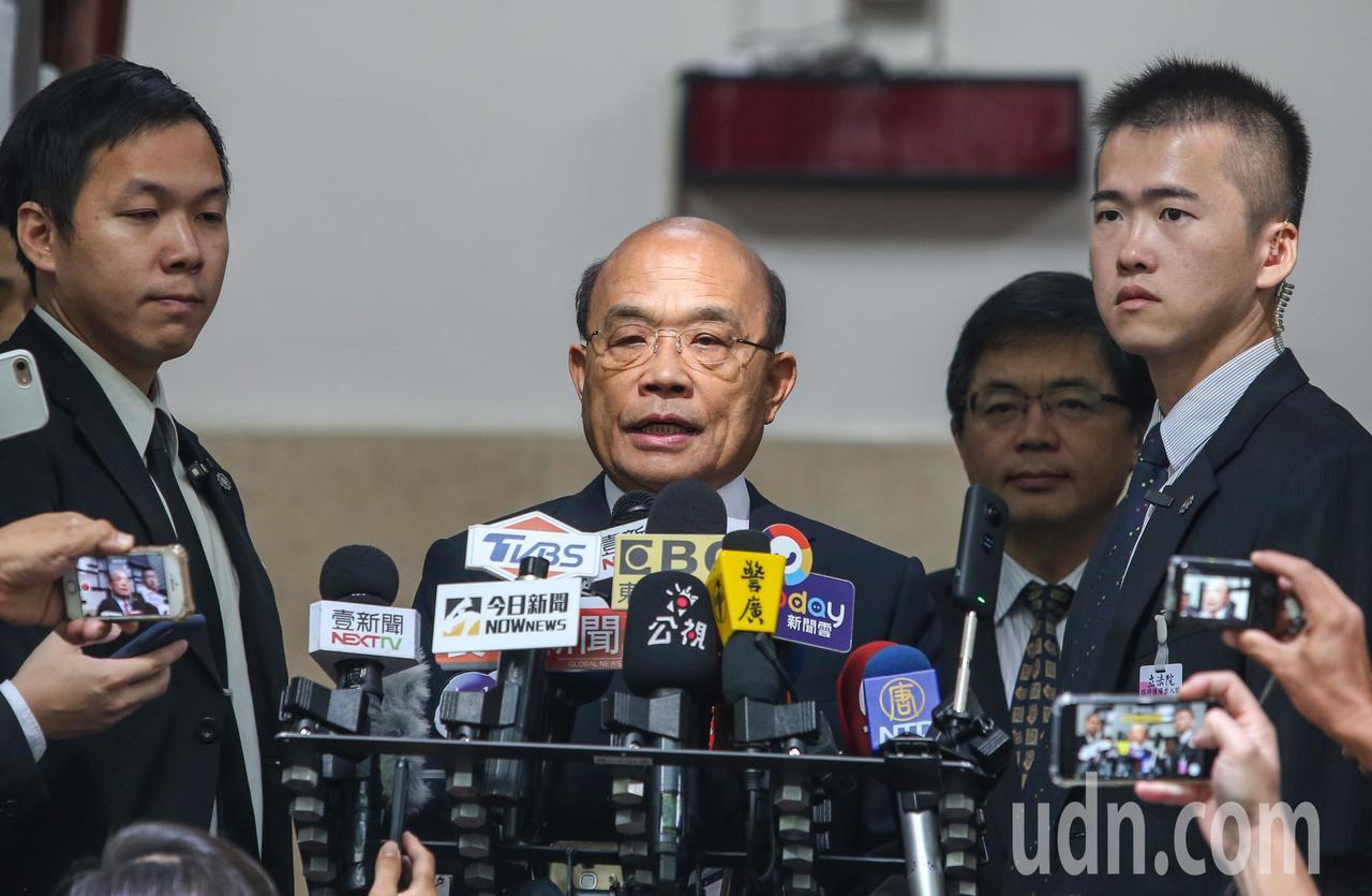 立法院院會上午進行本會期第一天開議,行政院長蘇貞昌接受訪問。記者陳柏亨/攝影