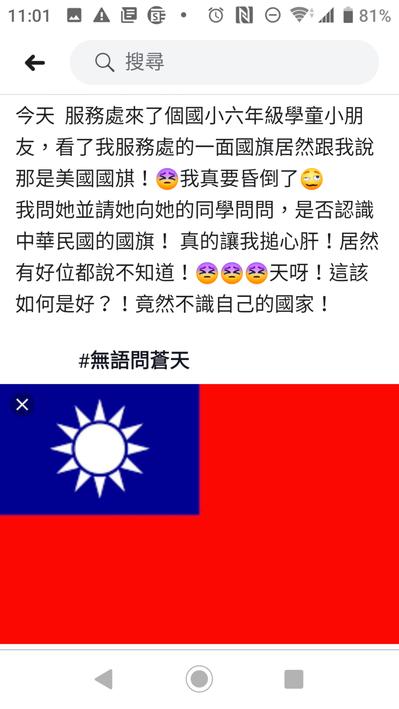 嘉義縣議員林宇玲在臉書貼文,憂心小朋友不認識國旗、不認識自己國家。記者卜敏正/翻...