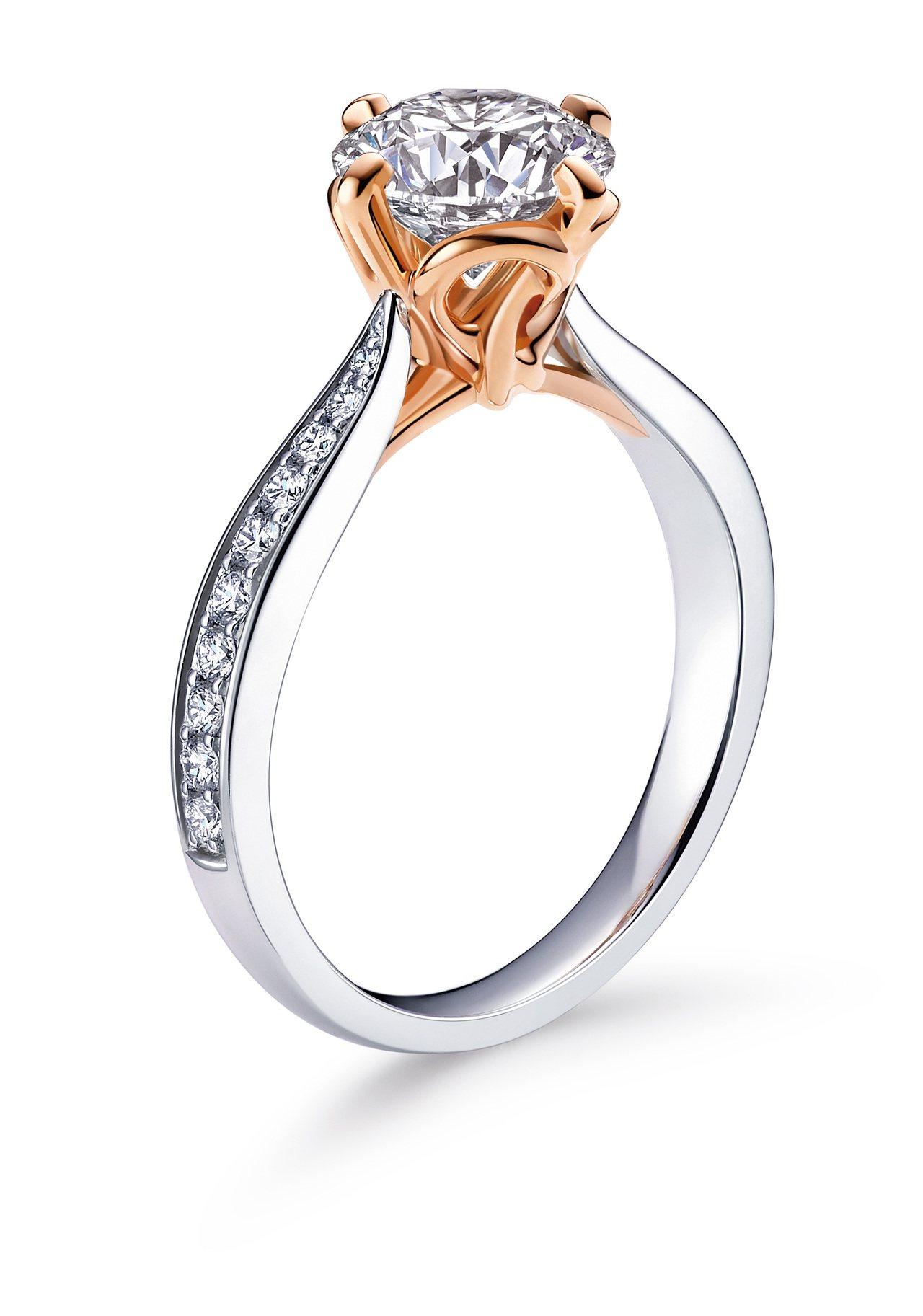 點睛品Promessa系列18K白金玫瑰金雙色「同心結」鑲嵌配鑽款鑽戒主石50分...