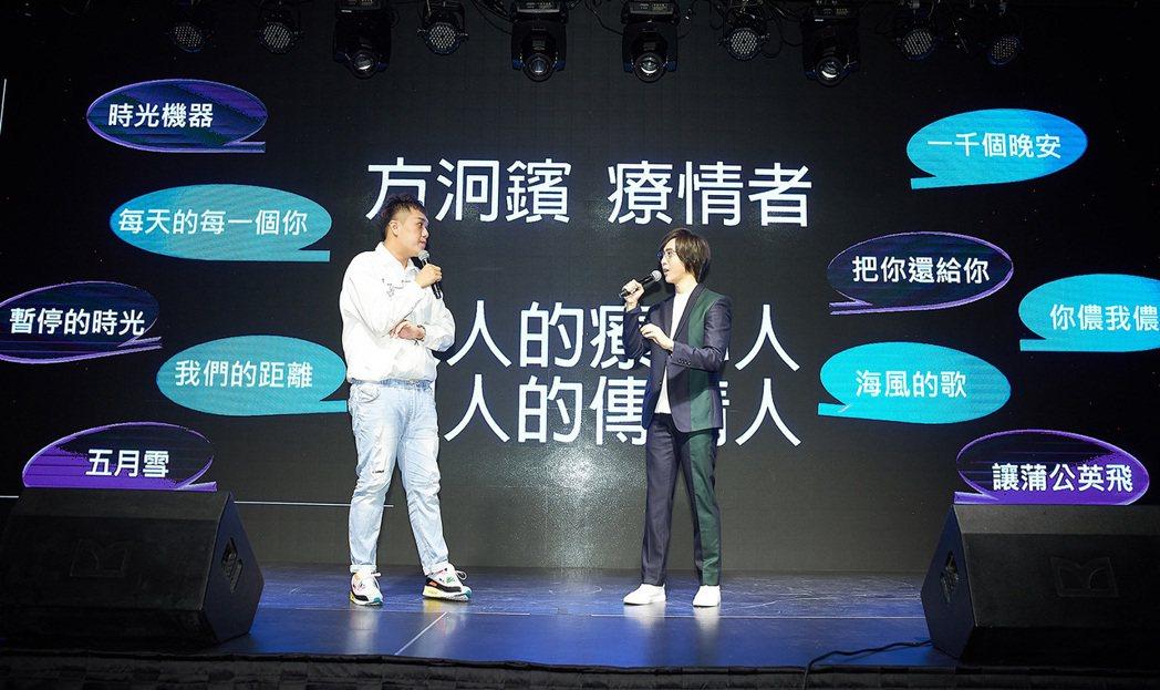 方泂鑌(左)發片,左為網紅主持人關韶文。圖/海蝶音樂提供