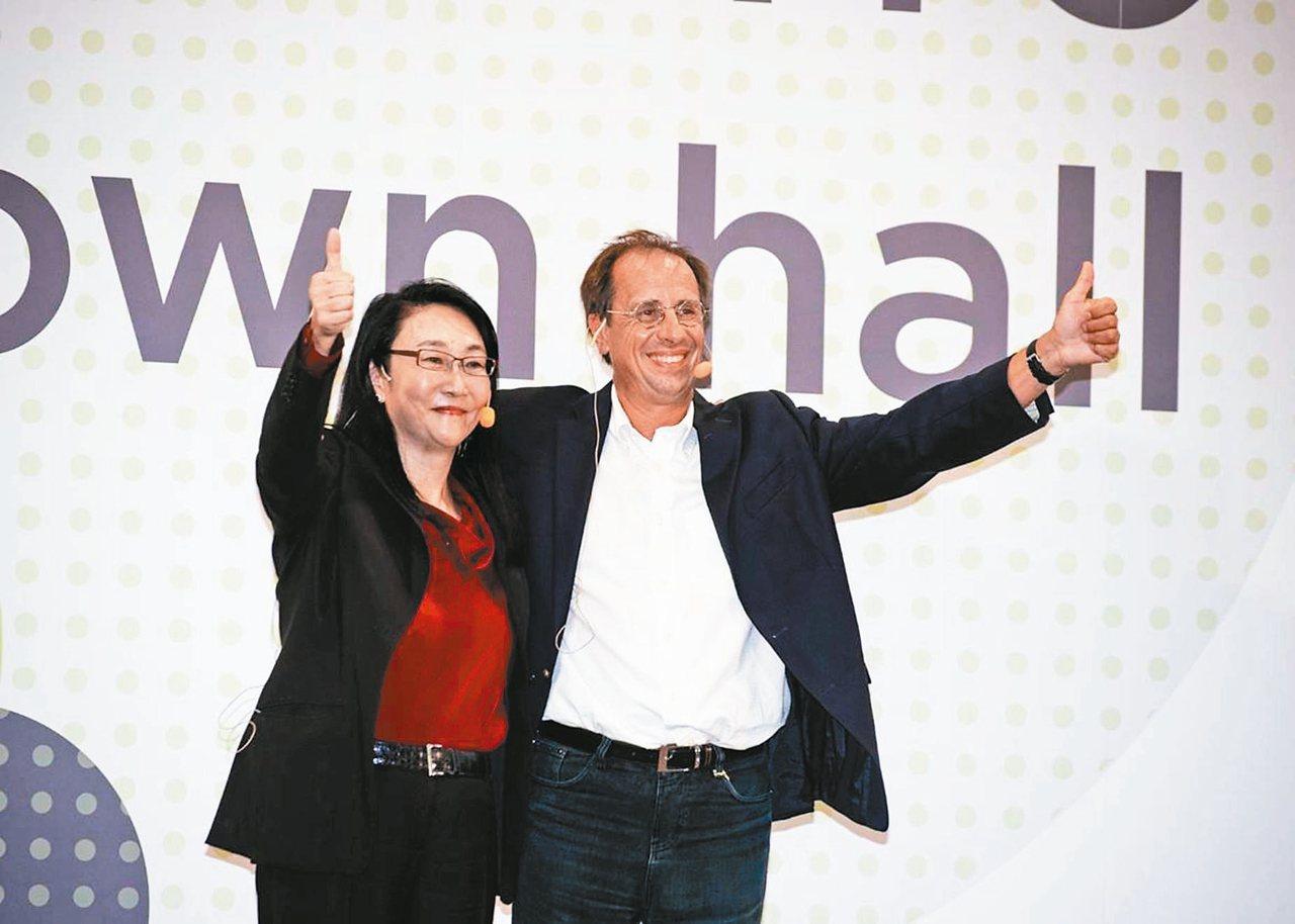 宏達電董事長王雪紅(左)在員工大會上宣布延攬梅特(Yves Maitre)(右)...