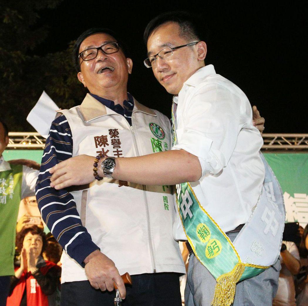 曾主動退黨的陳水扁父子,如願重回民進黨。 圖/聯合報系資料照片