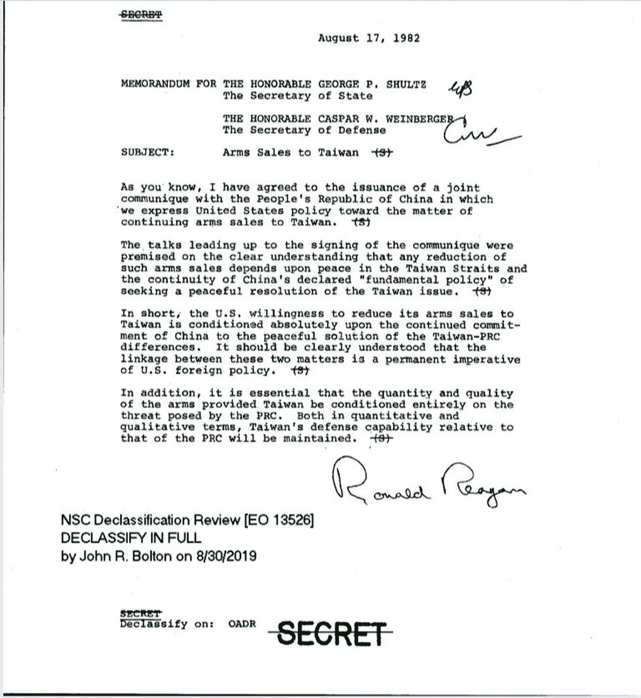 前美國總統雷根於1982年8月17日簽署的對台軍售備忘錄(見圖),由美國在台協會...
