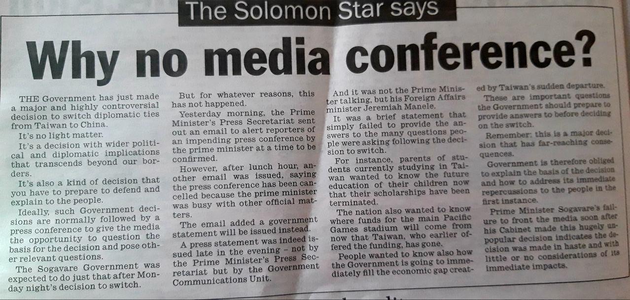 索國獨立媒體在臉書貼出索羅門星報社論。 圖擷自Solomon Focus