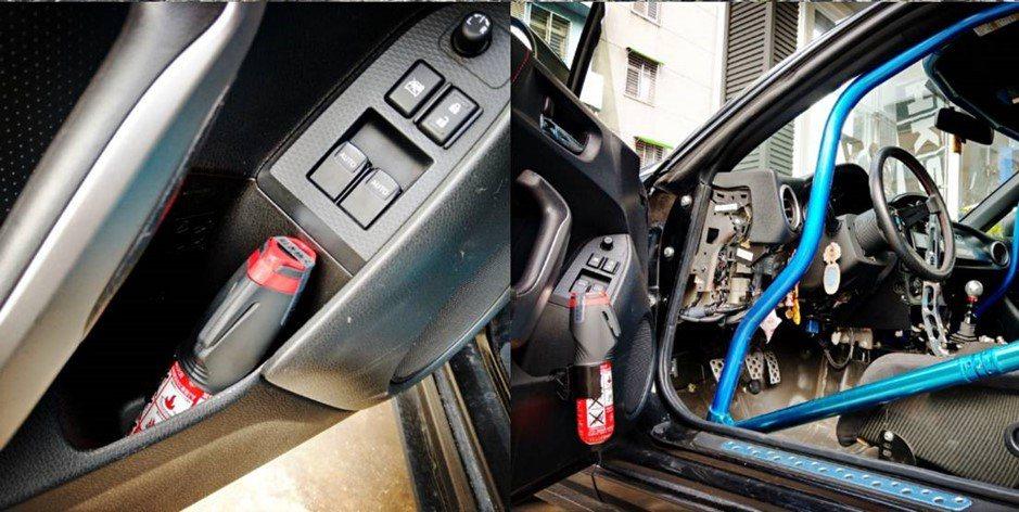 正德防火車用「脫困滅火棒」可放在駕駛座旁的置物架中,發生事故時容易取用。 圖/正...