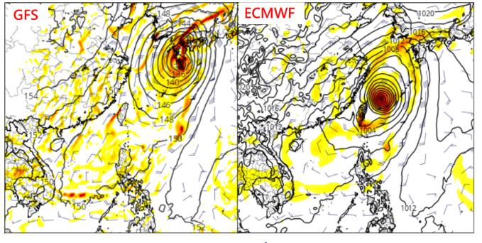 吳德榮說,17日20時歐洲模式(ECMWF)與美國模式(GFS)模擬周六20時天...