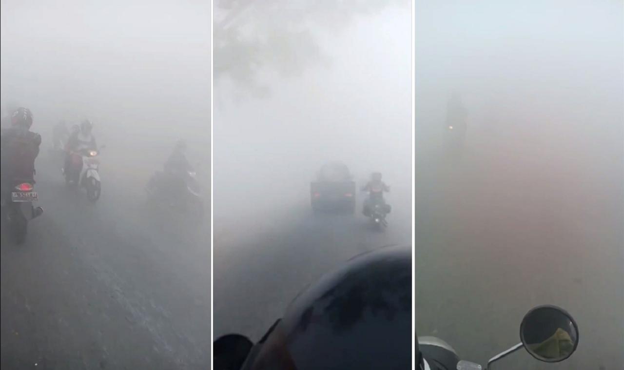 印尼旱季森林大火引爆嚴重霧霾,婆羅洲屬地加里曼丹地區,汽機車上路連前方都看不清楚...