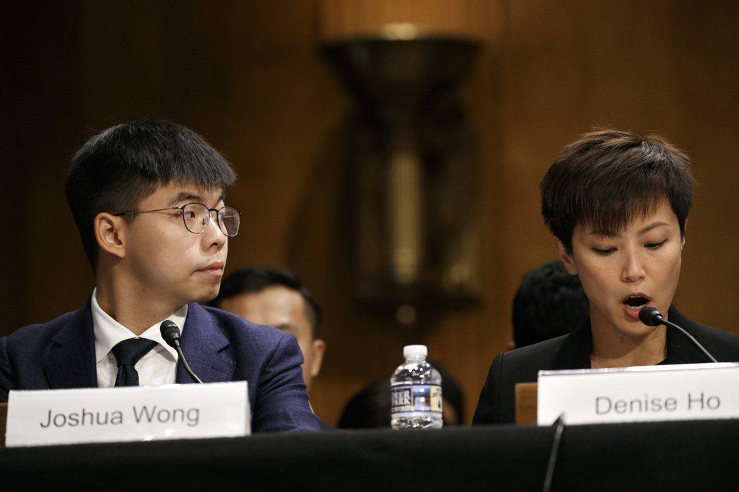 香港眾志秘書長黃之鋒(左)、歌手何韻詩,17日出席美國參院為香港局勢舉行的聽證會...