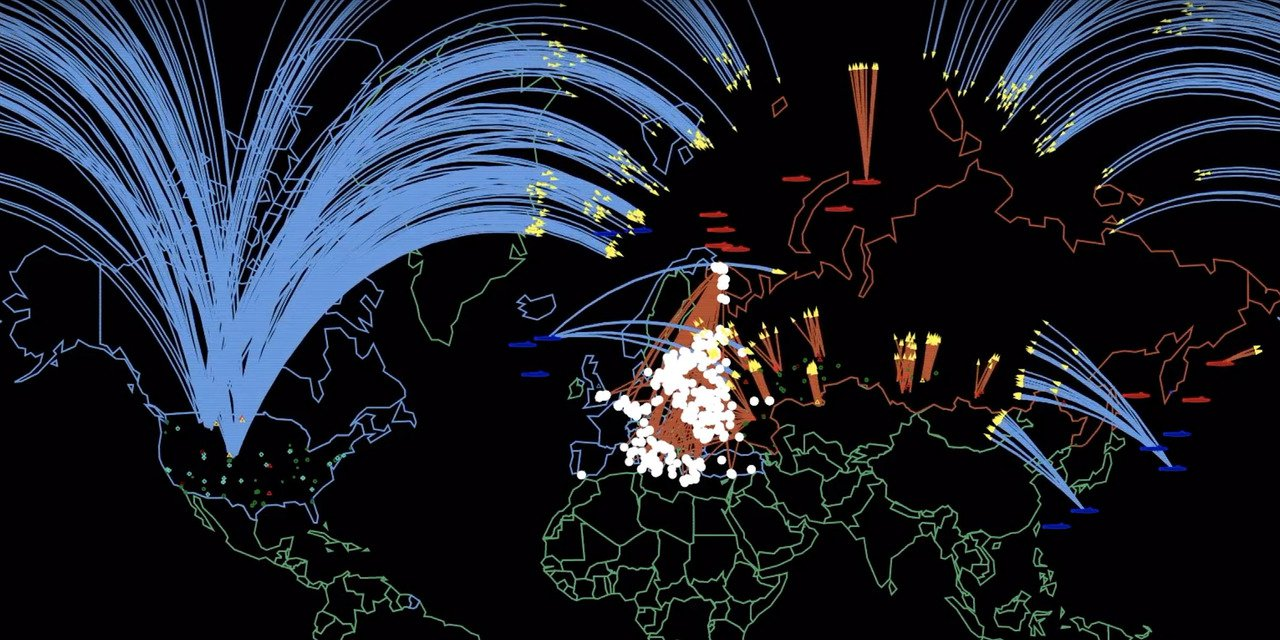 美國普林斯頓大學公布模擬美俄爆發核戰的影片,估計五小時內導致3400萬人死亡及6...