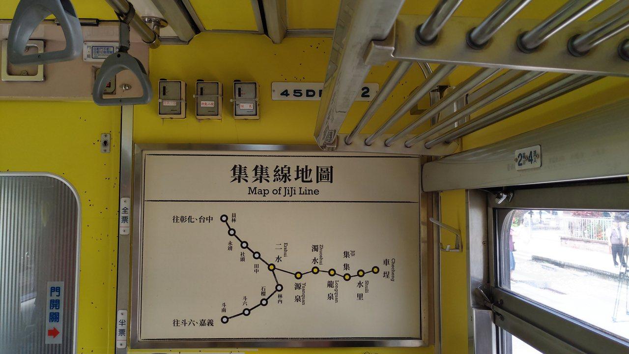 車廂設計,集集線地圖。記者董俞佳/攝影