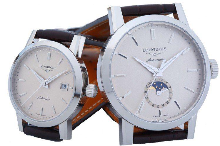 (由左至右)浪琴表1832系列女士腕表,58,800元;男士月相腕表,70,20...