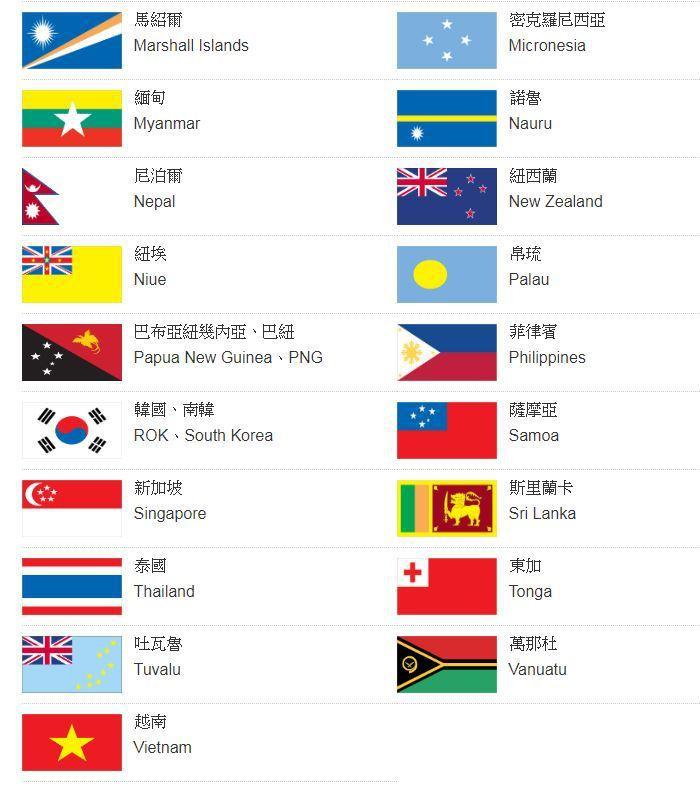 外交部亞太地區國家。圖/取自外交部官網