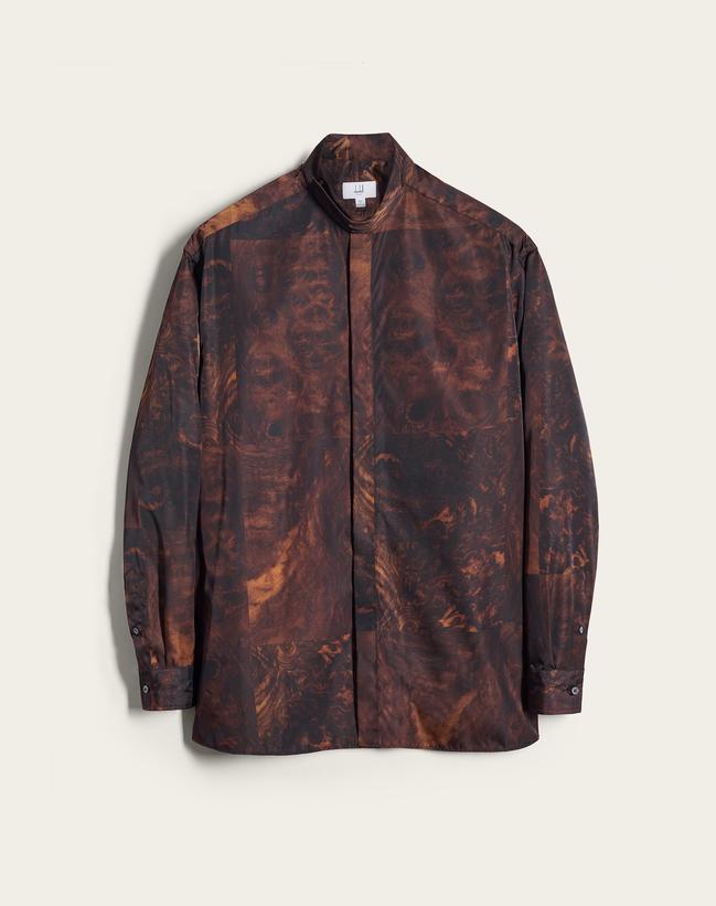 dunhill Walnut Dash迷你系列絲質襯衫,約21,660元。圖/d...