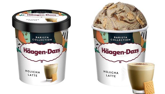 「日式焙茶拿鐵冰淇淋」品脫杯320元、迷你杯105元。圖/Häagen-Dazs...