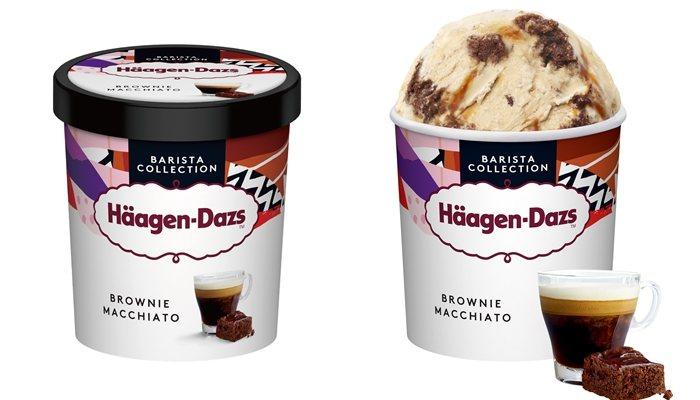 「義式布朗尼瑪奇朵冰淇淋」品脫杯320元、迷你杯105元。圖/Häagen-Da...