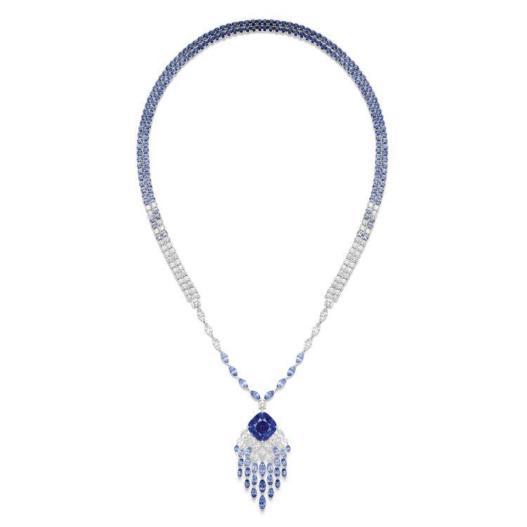 伯爵金燦綠洲系列頂級珠寶「蔚藍瀑布」藍寶石頂級珠寶鑽石墜鍊,鑲嵌罕見的矢車菊藍主...