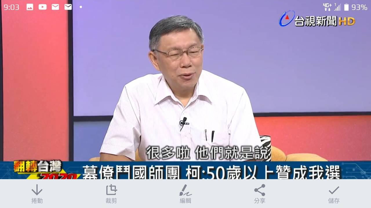 柯文哲接受台視新聞《翻轉台灣2020》專訪。聯合報記者楊正海/翻攝