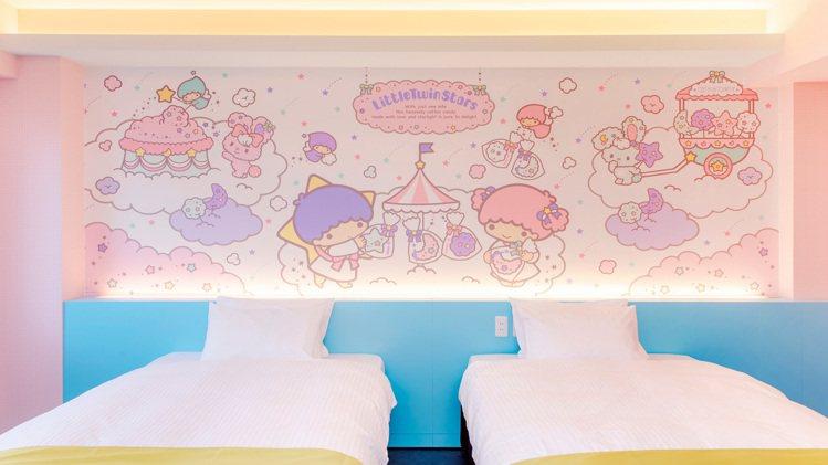 雙子星主題房。圖/取自ホテル沖縄withサンリオキャラクターズ官網