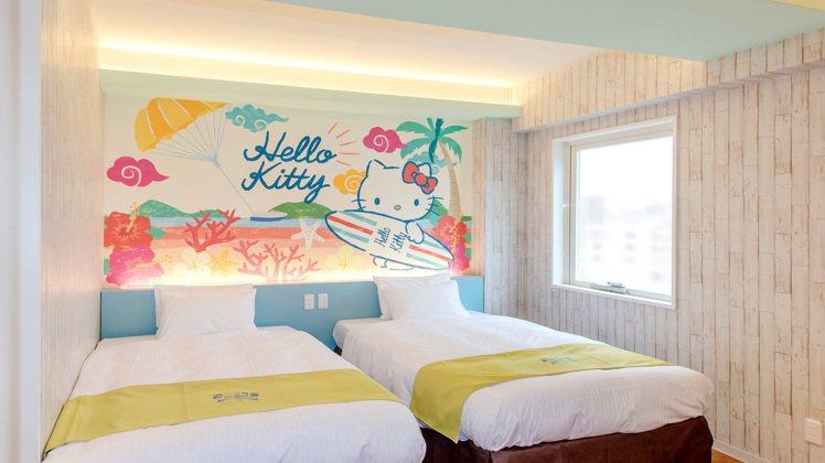 Hello Kitty主題房。圖/取自ホテル沖縄withサンリオキャラクターズ官...