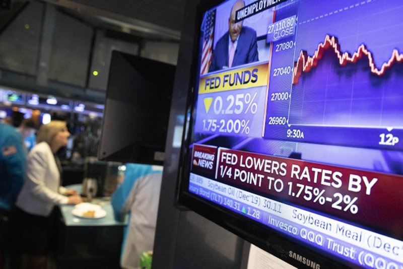 Fed降息一碼,道指盤中一度下跌逾200點。 (美聯社)