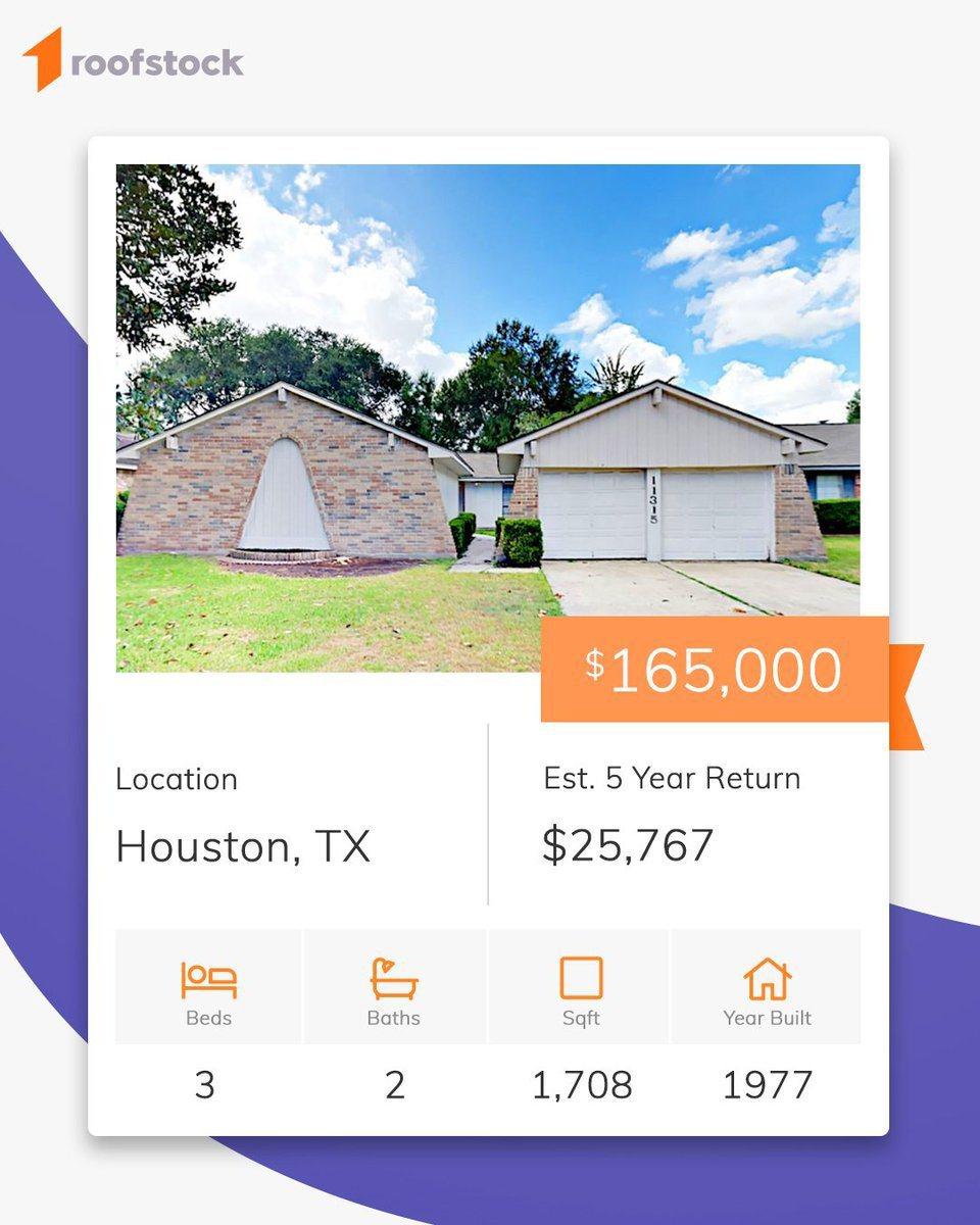 買賣投資物業平台Roofstock列出大量物業及相關資料。取自推特