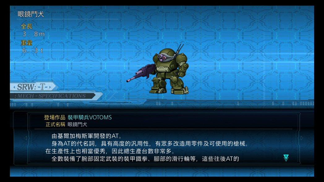 在《超級機器人大戰 T》之中,遊戲對於眼鏡鬥犬的機體相關介紹。
