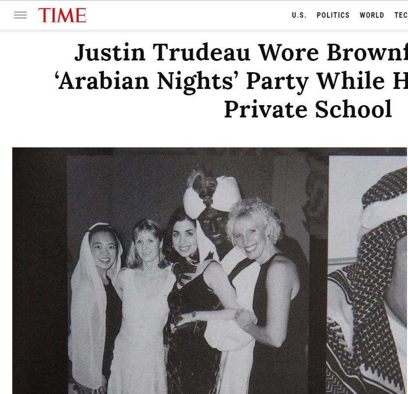 杜魯多當年的黑臉照曝光。取自Time網站