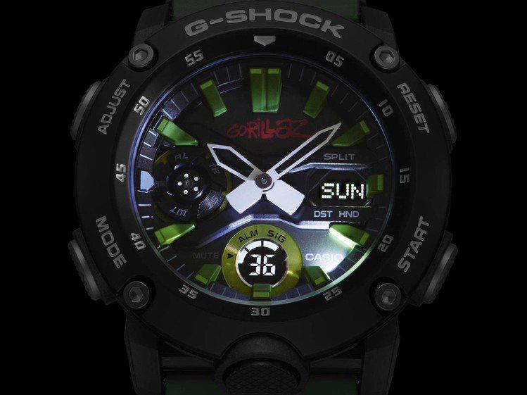 G-Shock GA-2000GZ腕表有著超亮LED照明。圖/Casio提供