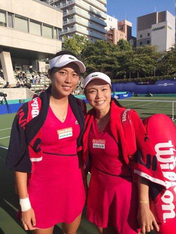 今天壽星詹皓晴(左)和姊姊詹詠然打進泛太平洋女網賽4強。圖/劉雪貞提供