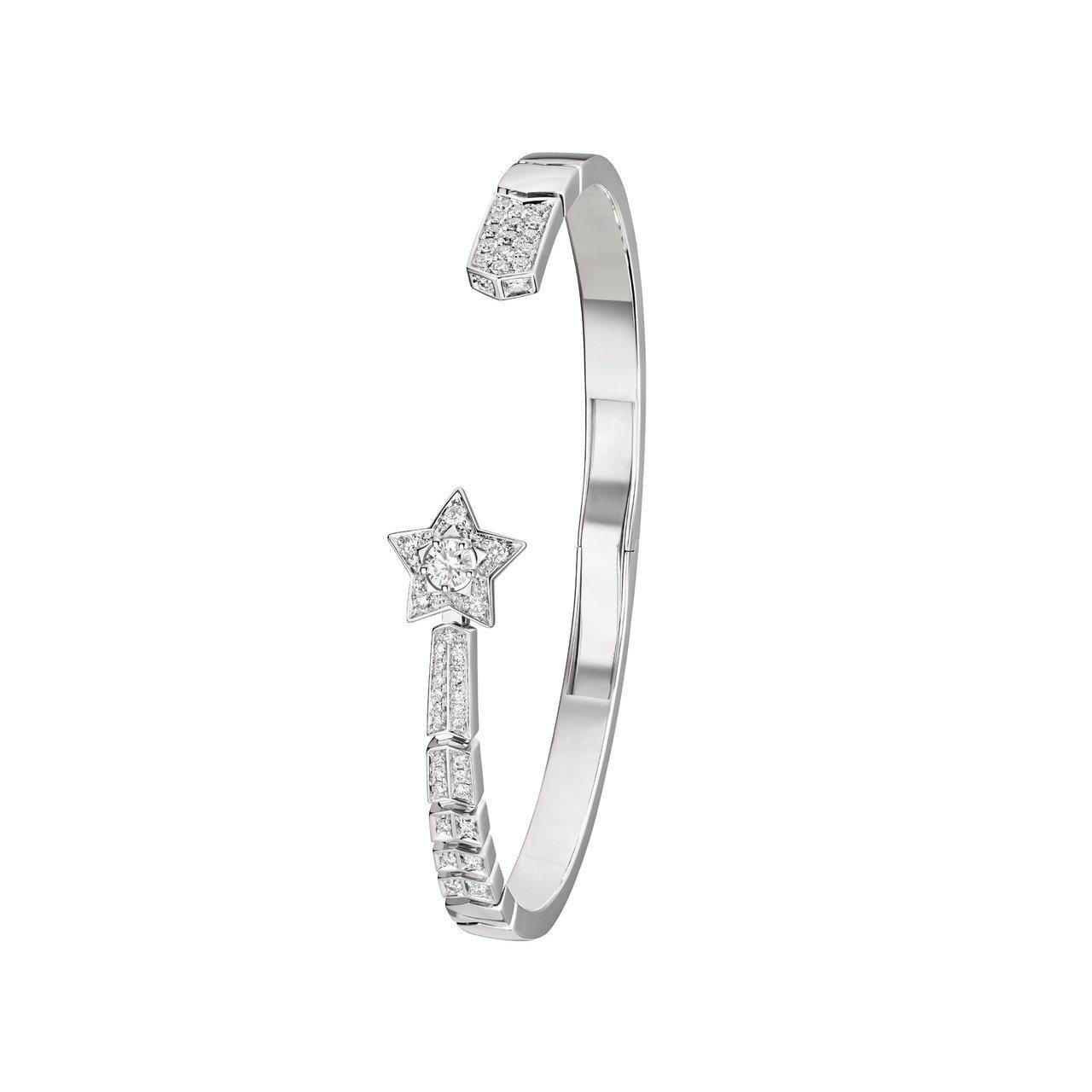 香奈兒Comète流星開放式手鐲,18K白金鑲嵌一顆0.15克拉鑽石及48顆鑽石...