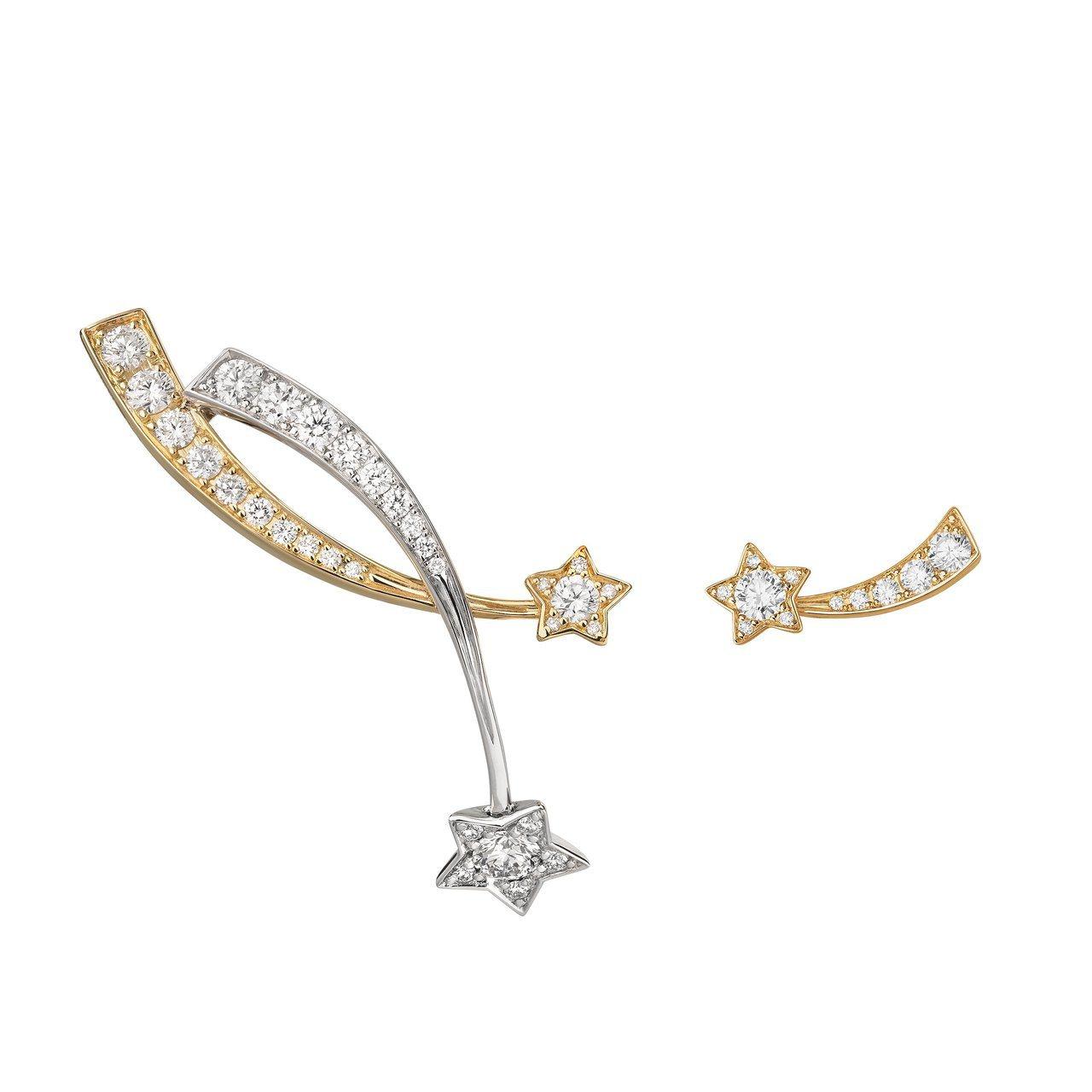 香奈兒Comète流星耳環,18K白金與黃金共鑲嵌42顆鑽石,31萬4,000元...