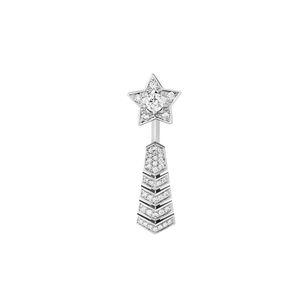 香奈兒Comète流星單邊耳環,18K白金,中央鑲嵌一顆0.15克拉鑽石及40顆...