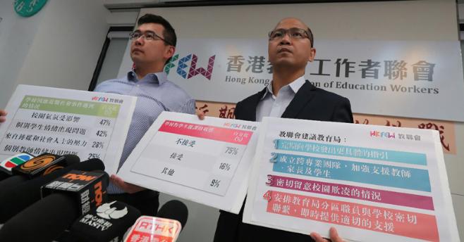 香港教聯會主席黃錦良(右)及教聯會副主席王惠成(左)公布問卷,有四成在校學生情緒...