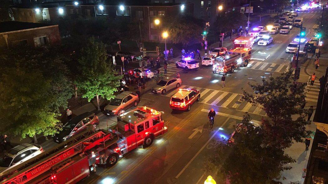 美國華府地區19日晚上驚傳槍擊案,至少六人受傷。 圖/Chris G. Coll...