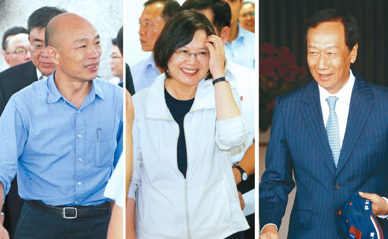 韓國瑜(左起)、蔡英文、郭台銘等多方勢力將在立委選舉正面交鋒。 圖/聯合報系資料...