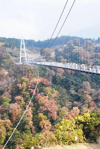 九重夢大吊橋是日本第一高吊橋。 圖/有行旅、曾郁雯提供