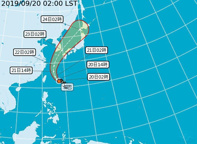 今年第17號颱風塔巴昨天下午生成,中央氣象局預測,颱風今天晚上到明天早上最接近台灣,受到颱風外圍雲系影響,下午至明天雙北山區及基隆北海岸,會出現局部豪大雨。 圖/取自中央氣象局網站
