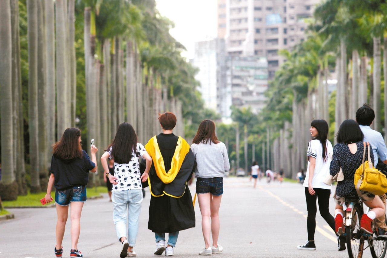 台灣大學今年開始發放每人每年20萬元的傅鐘獎學金,希望優秀高中生就讀。 圖╱聯合...