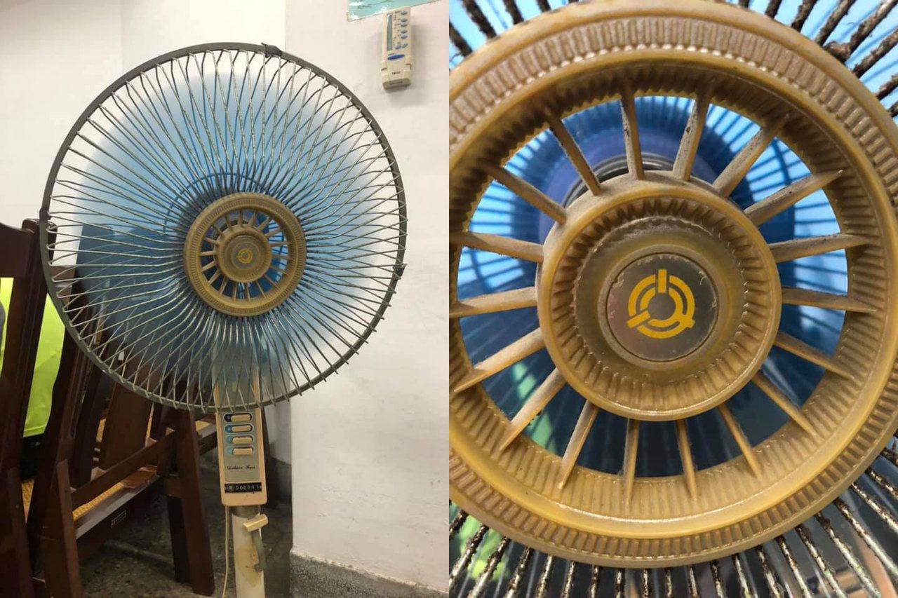 網友在臉書上PO出家中使用超過30年的骨董電扇。 圖/翻攝自爆廢公社