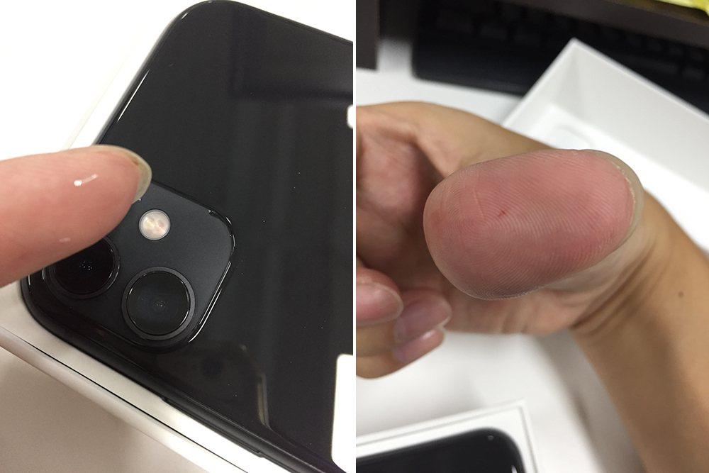 一名網友今天收到iPhone 11新機,沒想到卻發現2個瑕疵,手指還不小心刺傷。...