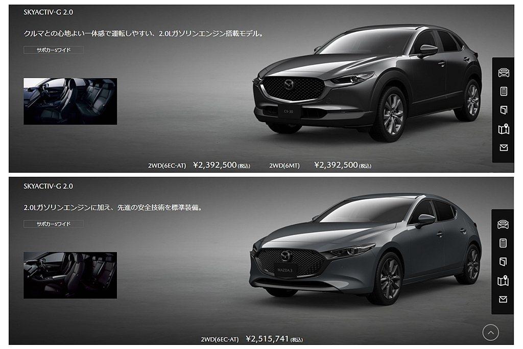 Mazda CX-30在日本預售價格自2,392,500日元(約台幣68.6萬元...