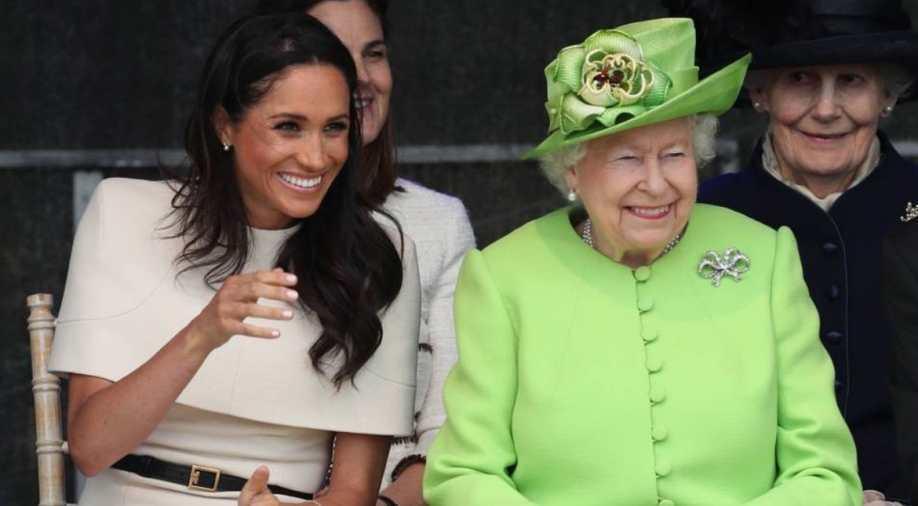 梅根與英女皇伊麗莎白二世看來並沒有關係緊張。圖/路透資料照片
